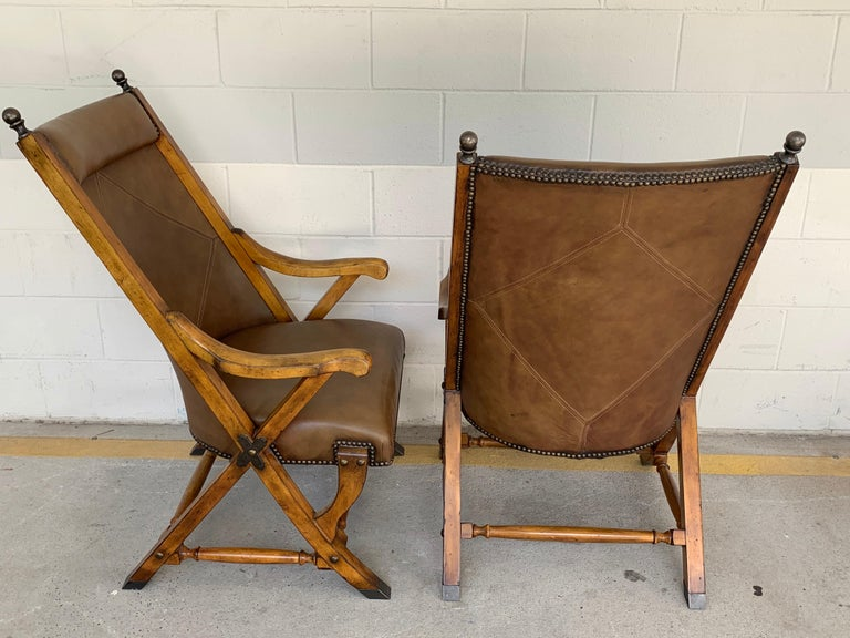 Pair of English Campaign Style Chair Elm and Leather Chairs For Sale 2