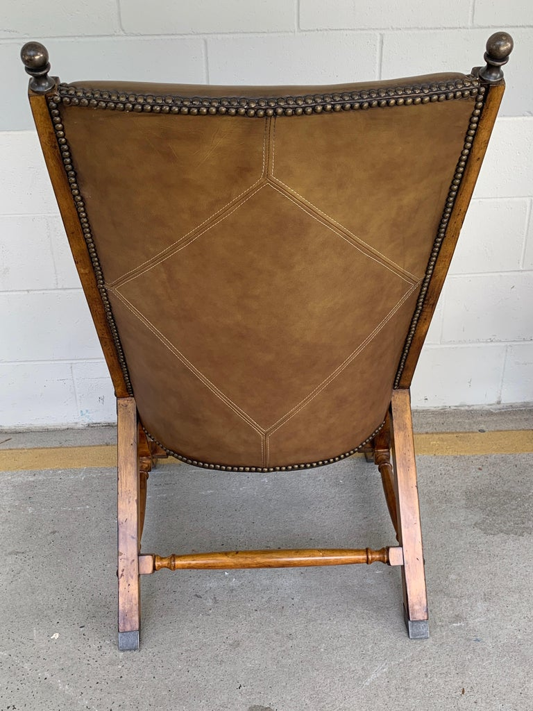 Pair of English Campaign Style Chair Elm and Leather Chairs For Sale 3