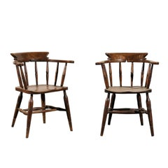 Pair of English Captains Armchairs, circa 1860, Marked