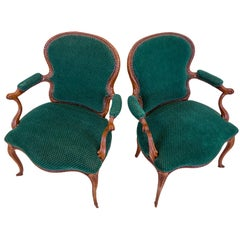 Pair of English Carved Armchairs in Green Velvet