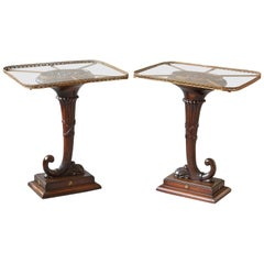 Pair of English Carved Cornucopia Glass Top Side Tables with Brass Galleries