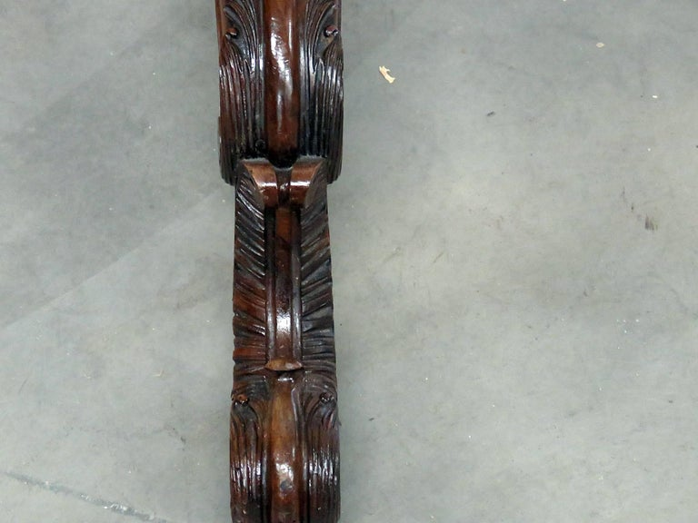 Pair of English Carved Walnut Standing Mirrors In Good Condition For Sale In Swedesboro, NJ
