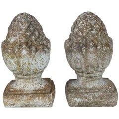 Pair of English Cast Stone Finials, circa 1920