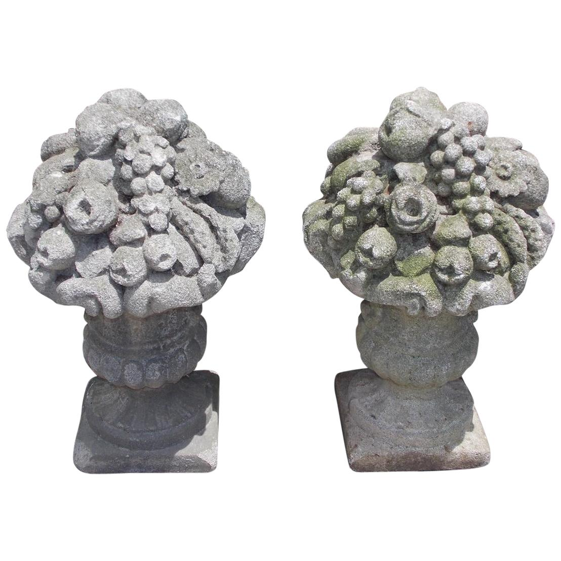 Pair of English Cast Stone Floral and Fruit Basket Garden Ornaments, Circa 1830