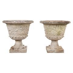Pair of English Cast-Stone Garden Urns