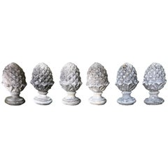 Pair of English Cast Stone Pineapple Finials