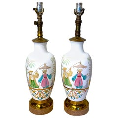 Pair of English Chinoiserie Bristol Opaline Glass Vases, Now as Lamps