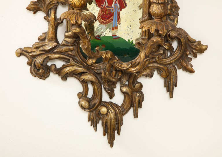 Pair of English Chinoiserie Painted Reverse on Glass Giltwood Mirrored Sconces For Sale 12