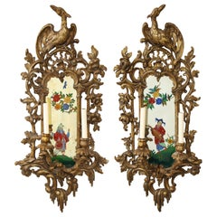 Pair of English Chinoiserie Painted Reverse on Glass Giltwood Mirrored Sconces