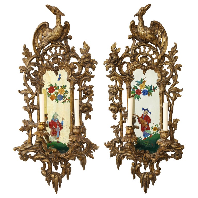 Pair of English Chinoiserie Painted Reverse on Glass Giltwood Mirrored Sconces For Sale