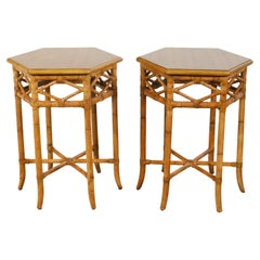 Pair of English Chinoiserie Style Faux Bamboo Side Tables with Hexagonal Tops