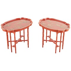 Pair of English Chinoiserie Style Faux Bamboo Tray Tables