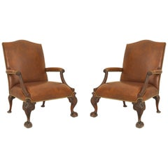 Pair of English Chippendale '18th Century' Large Gainsborough Library Chairs