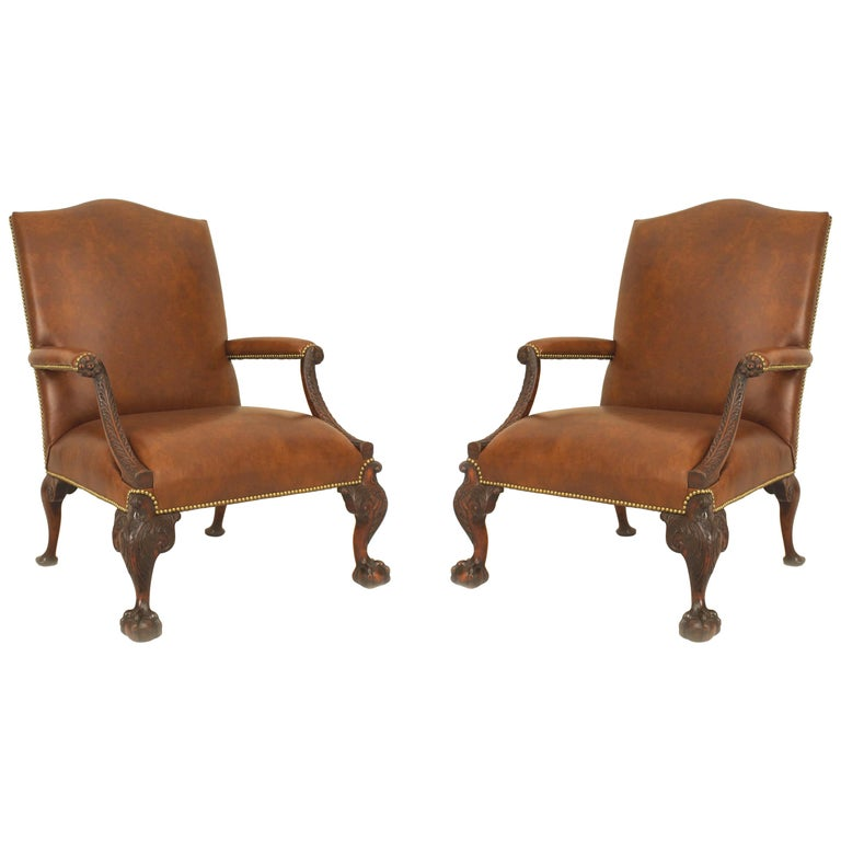 Pair Of English Chippendale 18th Century Large Gainsborough Library Chairs