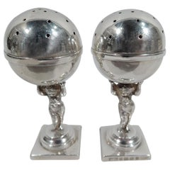 Pair of English Classical Sterling Silver Salt & Pepper Shakers