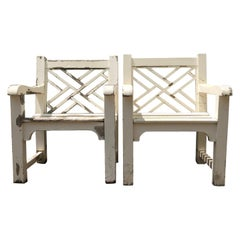 Pair of English Cockspen Garden Armchairs in Teak with Chippy White Paint