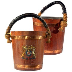 Pair of English Copper Strapped Oak Fire Buckets