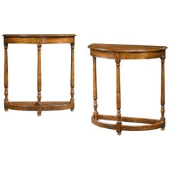 Pair of English Country Demilune Console Tables