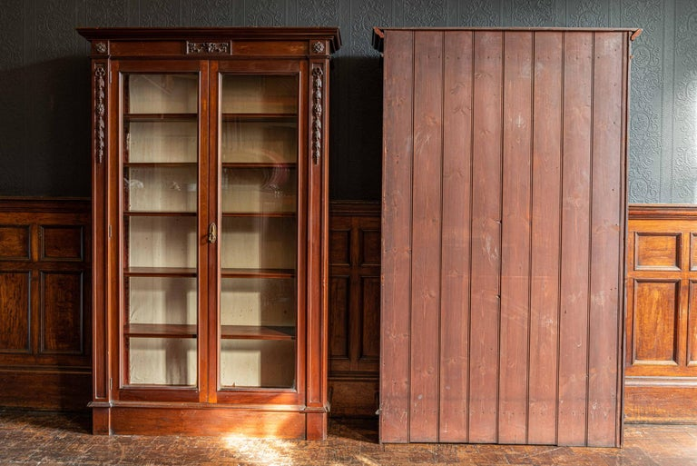 British Pair of English Country House Solid Mahogany Glazed Bookcases For Sale
