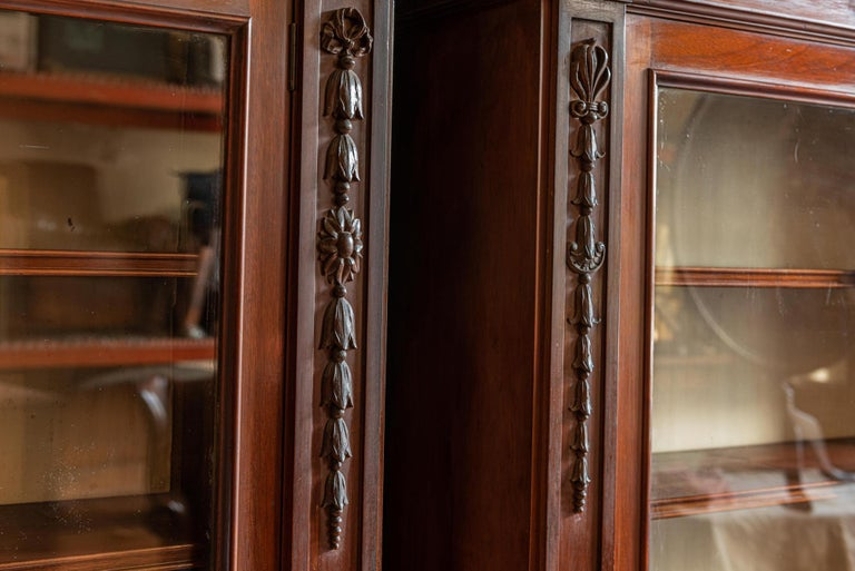 Pair of English Country House Solid Mahogany Glazed Bookcases For Sale 1