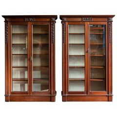 Pair of English Country House Solid Mahogany Glazed Bookcases