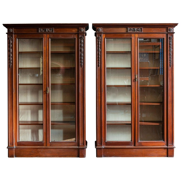 Pair of English Country House Solid Mahogany Glazed Bookcases For Sale