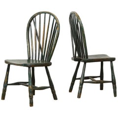 Pair of English Country Side Chairs, Primitive, West Country, Naive, Old Paint