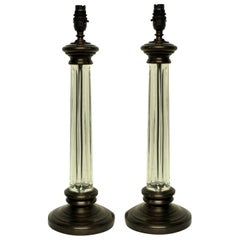 Pair of English Cut-Glass Column Lamps