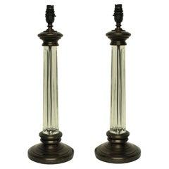Pair of English Cut-Glass Column Lamps