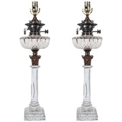 Pair of English Cut-Glass Oil Lamps Made Late 19th Century Now with New Wiring