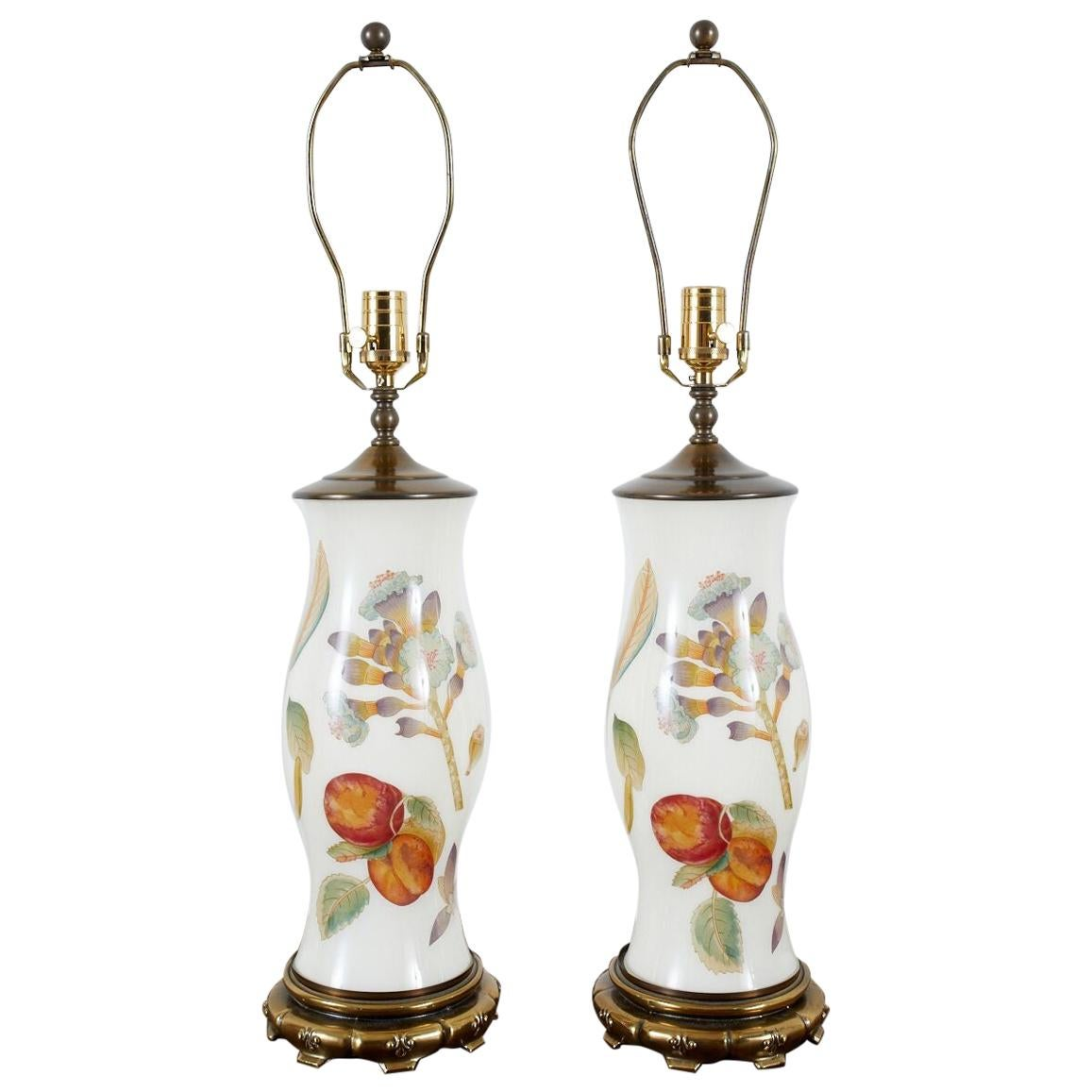Pair of English Decalcomania Regency Style Table Lamps