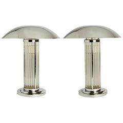 Pair of English Deco Revival Chrome and Glass Rod Lamps after Atelier Petitot