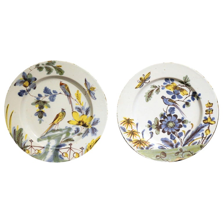 Pair of English Delftware Polychrome Decorated Chargers of Exceptional Quality For Sale