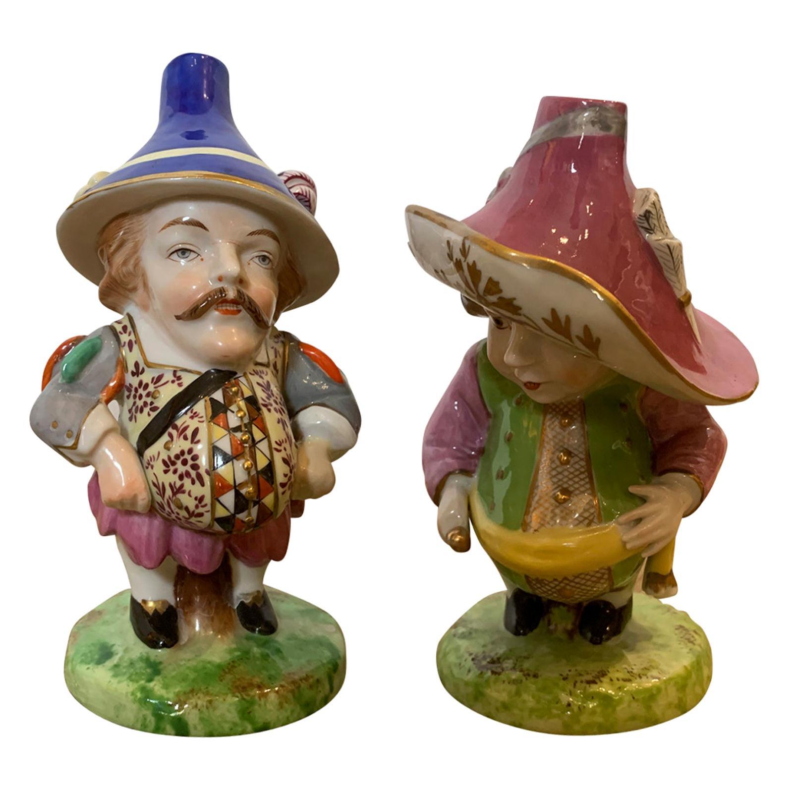 Pair of English Derby Style Porcelain Mansion House Dwarfs, Probably Edme Samson