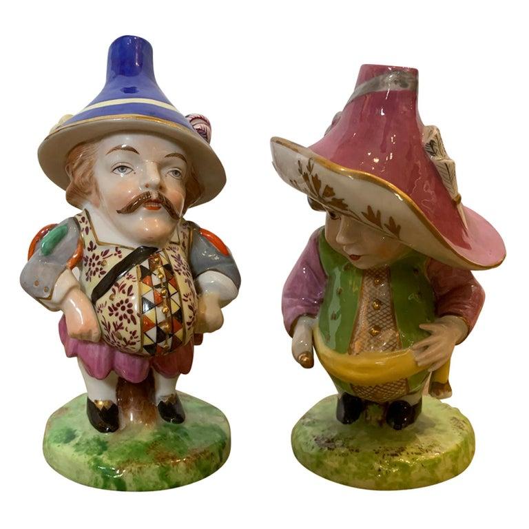 Pair of English Derby Style Porcelain Mansion House Dwarfs, Probably Edme Samson For Sale