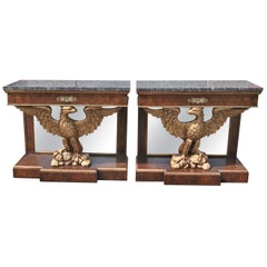 Pair of English Eagle Based Console Tables, circa 1910
