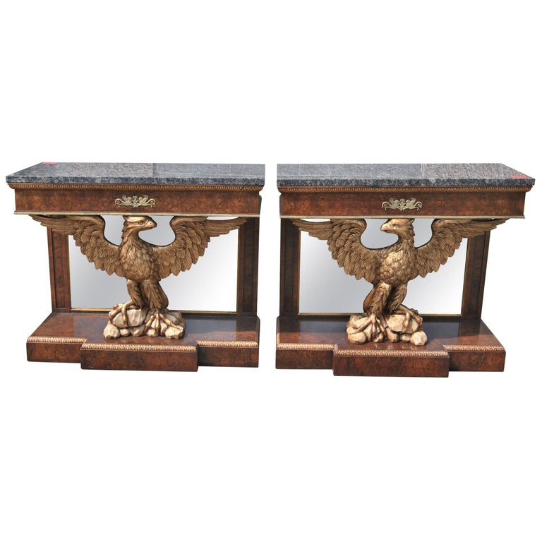 Pair of English Eagle Based Console Tables, circa 1910 For Sale