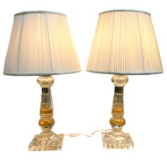 Pair of English Early 20 Century Cut Crystal Lamps