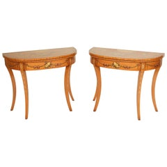 Pair of English Edwardian Style Painted Satinwood Games Tables