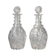 Pair of English Fancy-Cut Glass Decanters, circa 1840