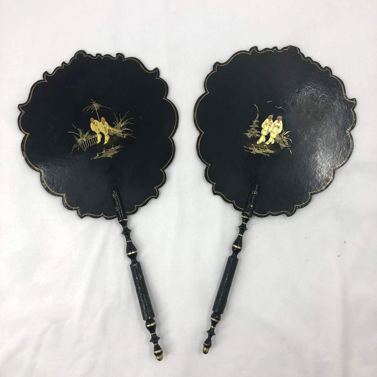 Early Victorian Pair of English Fans For Sale