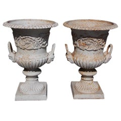Pair of English Figural Cast Iron and Painted Campana-Form Urns, Circa 1880
