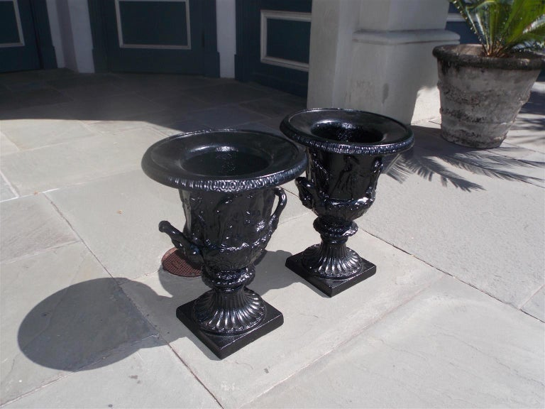 Victorian Pair of English Figural Frieze Cast Iron Powder Coated Campana-Form Urns. C 1880 For Sale