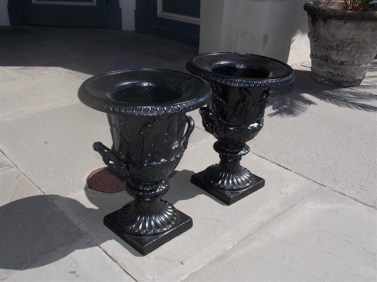 Pair of English Figural Frieze Cast Iron Powder Coated Campana-Form Urns. C 1880 For Sale 2