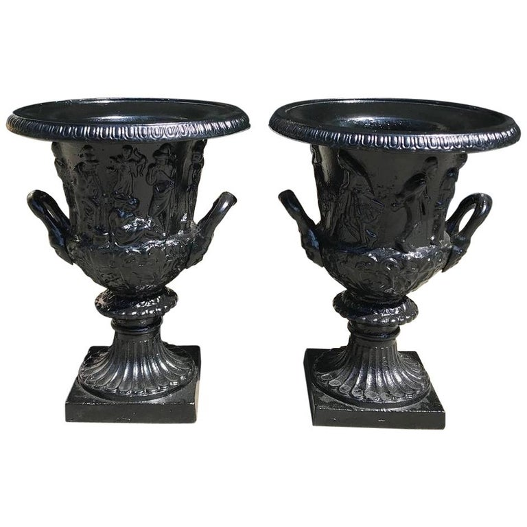 Pair of English Figural Frieze Cast Iron Powder Coated Campana-Form Urns. C 1880 For Sale