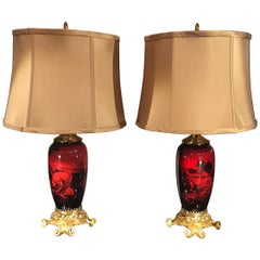 Pair of English Flambé Doulton Vases as Lamps