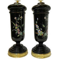 Pair of English Floral Lamps