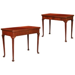 Pair of English George I Brown Mahogany Tea Tables
