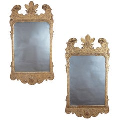 Pair of English George I Style Giltwood Mirrors