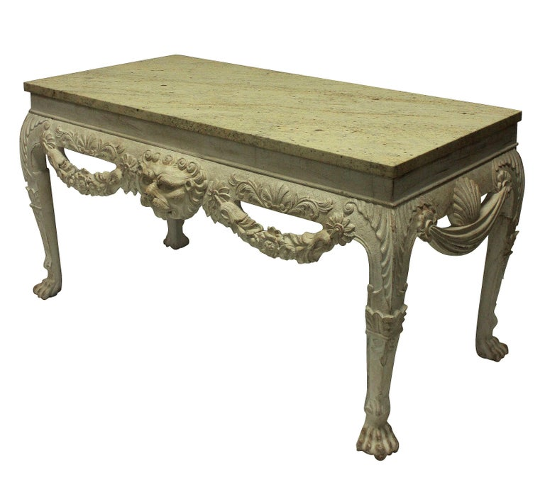 George II Pair of English George I Style Painted and Carved Mahogany Console Tables